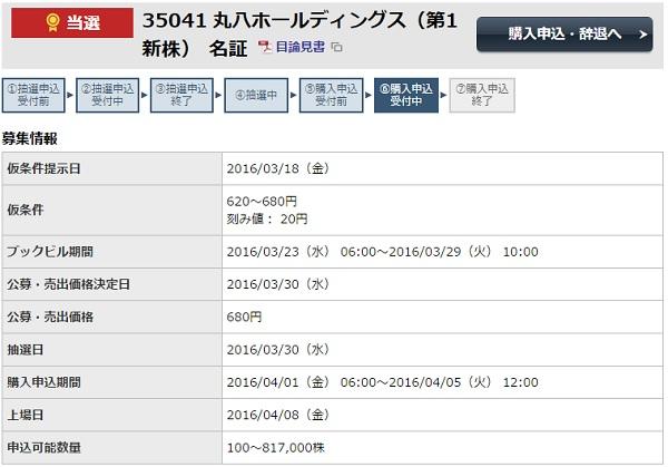 丸八ホールディングス(3504)IPO当選